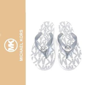 Michael Kors White & Silver Rubber Flip Flops